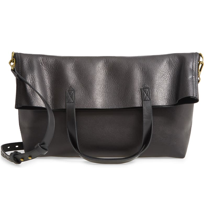 MADEWELL The Foldover Transport Tote, Main, color, TRUE BLACK