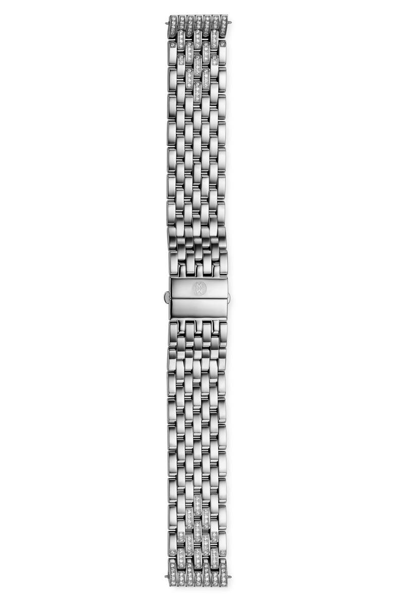 MICHELE Deco Diamond 18mm Bracelet Band, Main, color, Silver