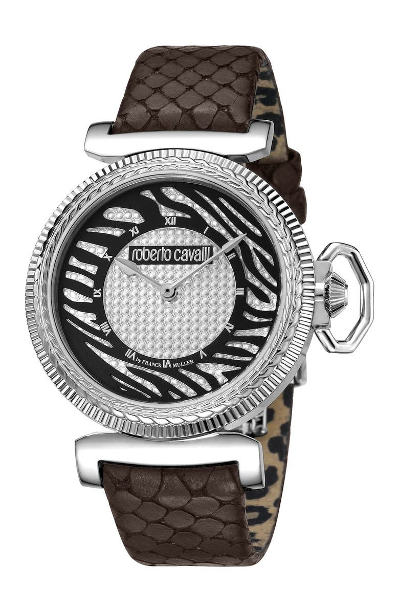 ROBERTO CAVALLI Women's Crystal Embellished Embossed Leather Strap Watch, 38mm, Main, color, BROWN