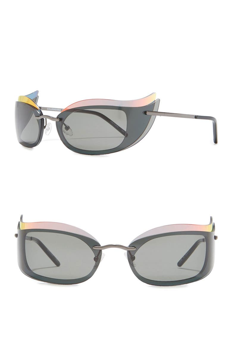 COURREGES The Make Up 53mm Layered Cat Eye Sunglasses, Main, color, 020