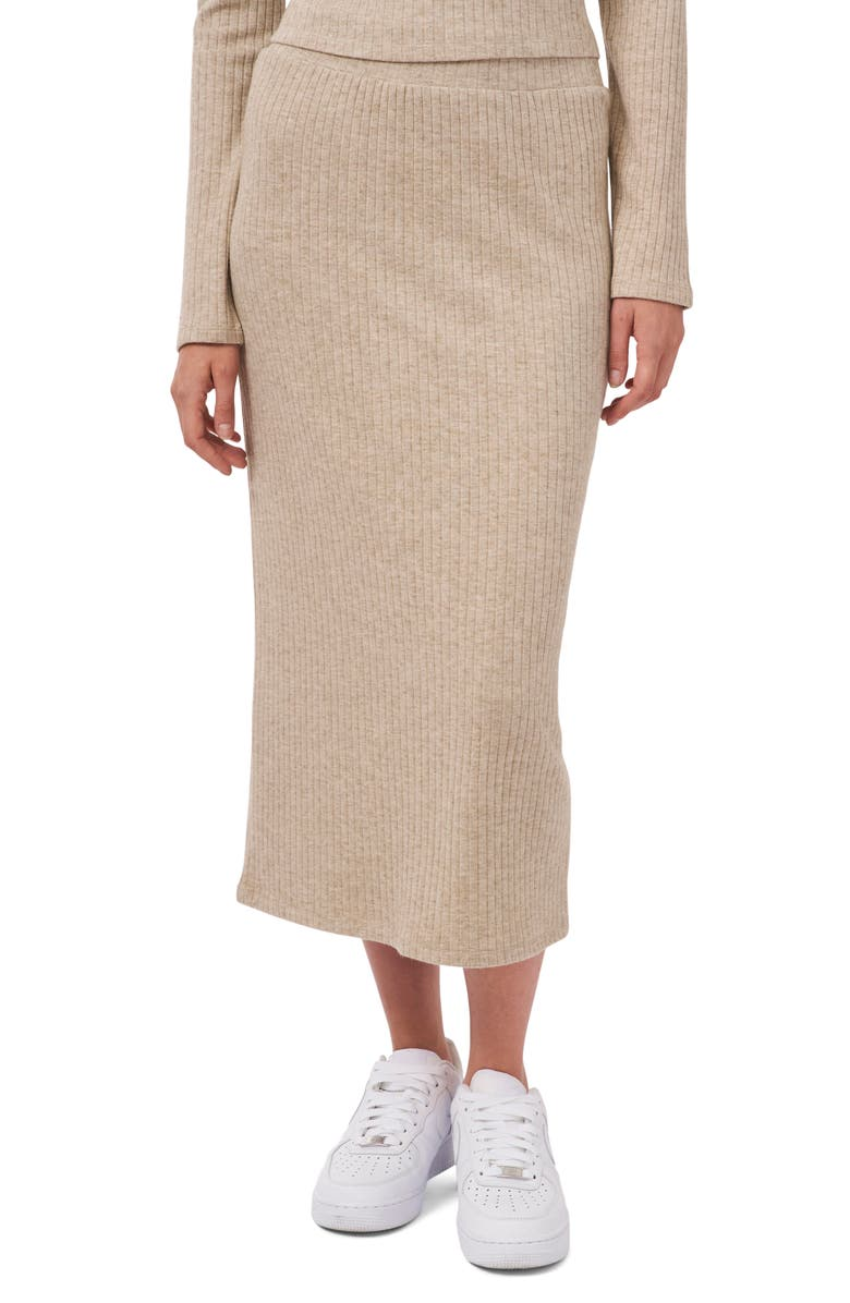 1.STATE Ribbed Sweater Midi Skirt, Main, color, CHINO HEATHER