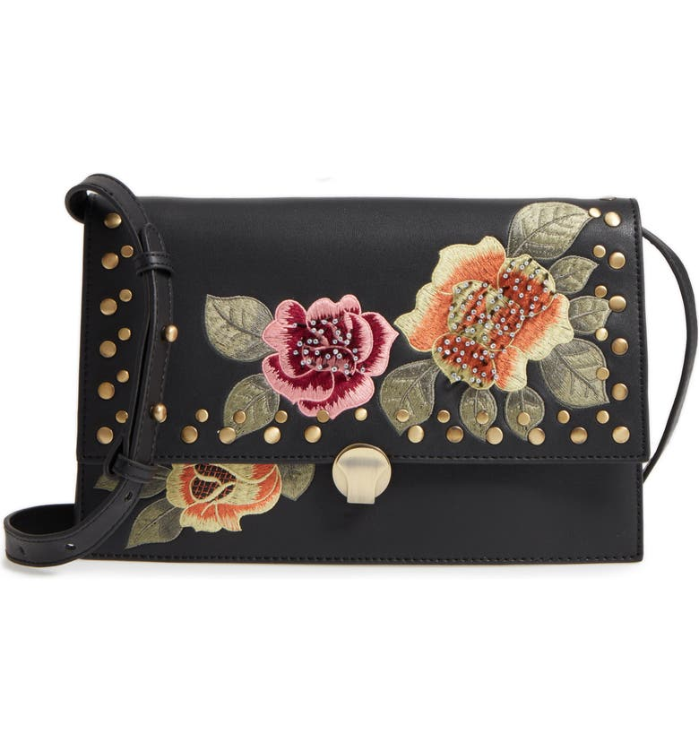 TOPSHOP Robyn Floral Faux Leather Crossbody Bag, Main, color, BLACK MULTI