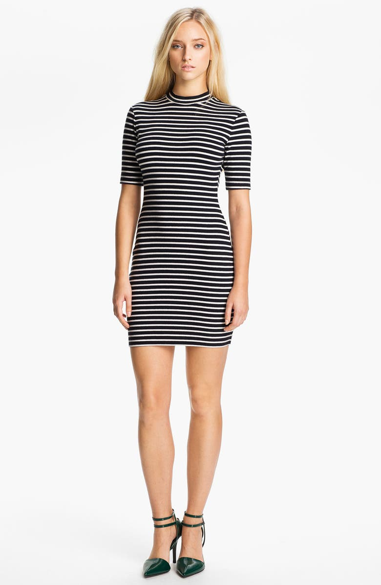 ALEXANDERWANG.T T by Alexander Wang Stripe Stretch Knit Dress, Main, color, CHALK AND INK