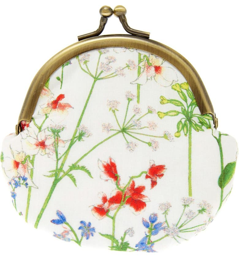FLOWERS OF LIBERTY Floral Print Coin Purse, Main, color, THEODORA
