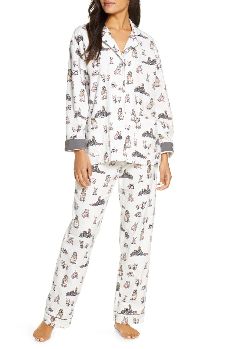 PJ SALVAGE Print Flannel Pajamas, Main, color, 900
