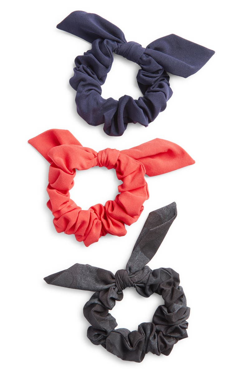 ZELLA 3-Pack Scrunchies, Main, color, RED HIBISCUS
