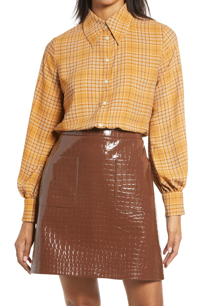 HALOGEN<SUP>®</SUP> x Atlantic-Pacific Puff Sleeve Button-Up Shirt, Main, color, BROWN PLAID