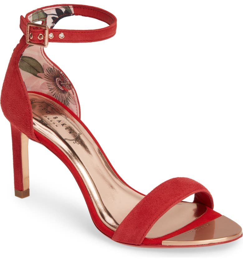 TED BAKER LONDON Ulanis Sandal, Main, color, RED / CERISE SUEDE