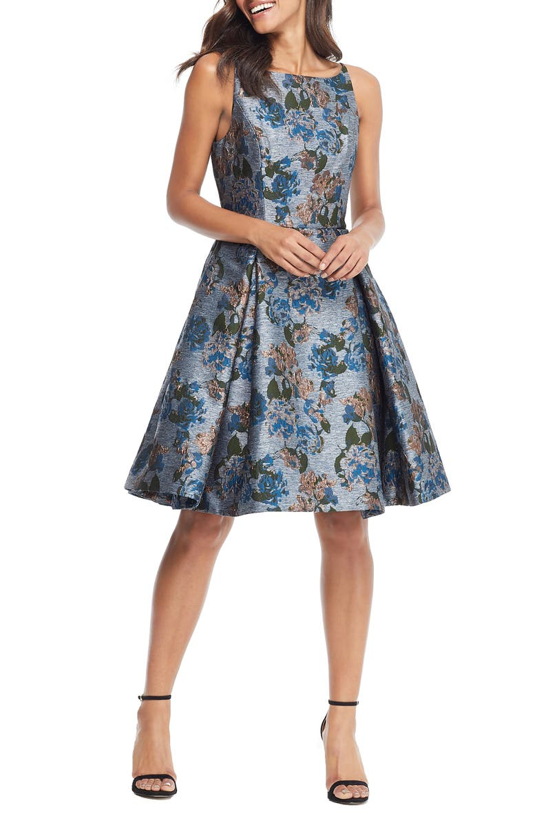 GAL MEETS GLAM COLLECTION Darryn Floral Brocade Fit & Flare Dress, Main, color, 060