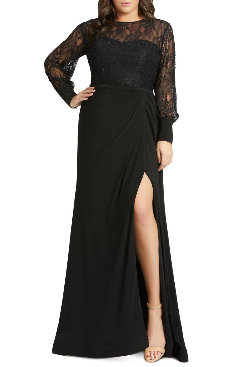 MAC DUGGAL Long Sleeve Lace Illusion Gown, Main, color, Black