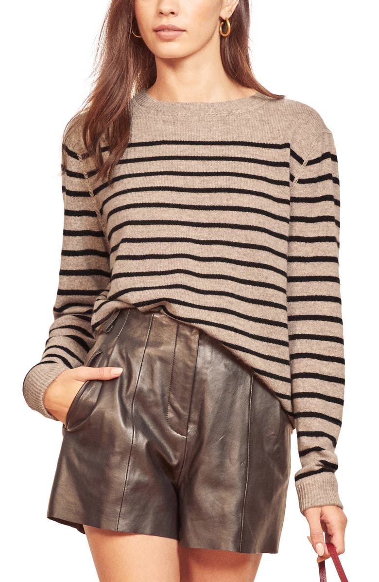 REFORMATION Cashmere Sweater, Main, color, OATMEAL STRIPE