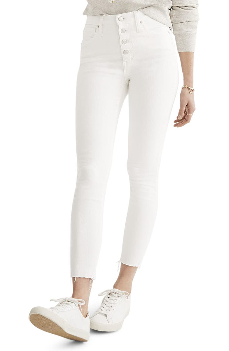 MADEWELL 10-Inch Button High Waist Crop Skinny Jeans, Main, color, 100