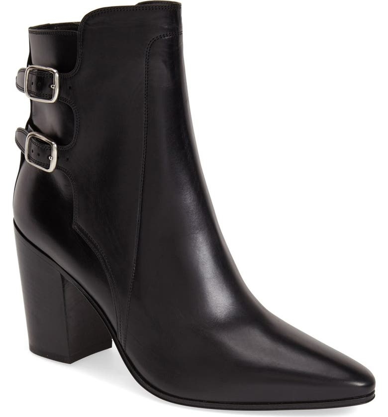 SAINT LAURENT Pointy Toe Ankle Boot, Main, color, 001