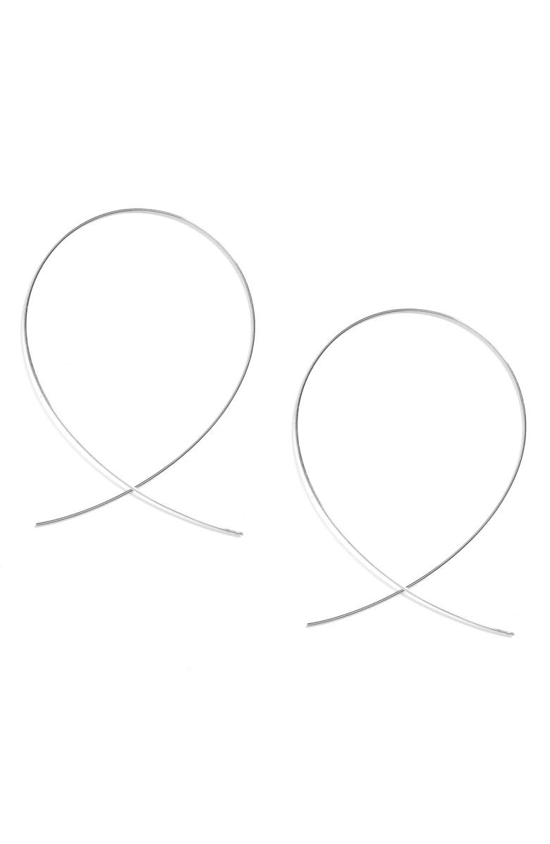 LANA JEWELRY 'Large Upside Down' Hoop Earrings, Main, color, WHITE GOLD