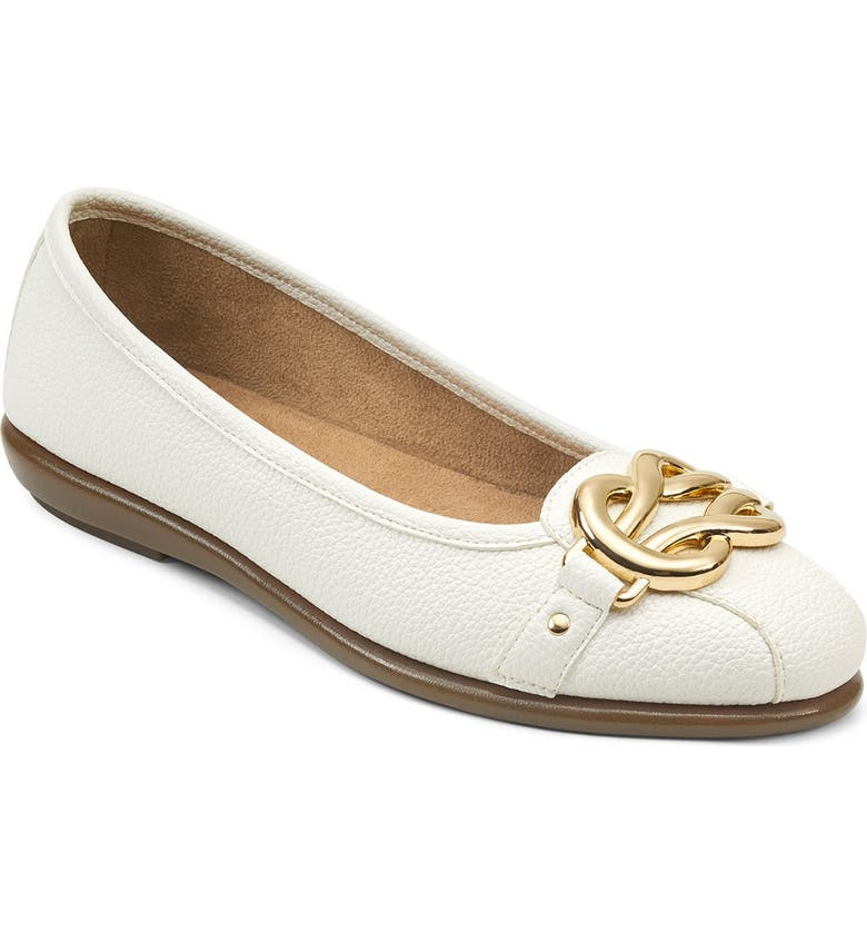 AEROSOLES Big Bet Pebbled Flat - Wide Width Available, Main, color, WHITE