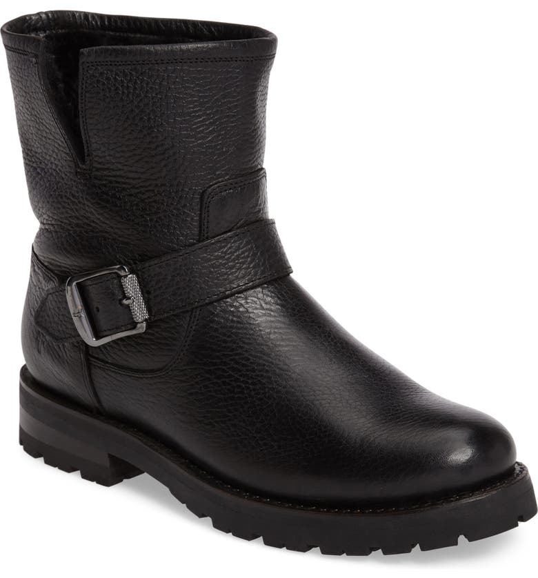 FRYE Natalie Genuine Shearling Water Resistant Engineer Boot, Main, color, 001