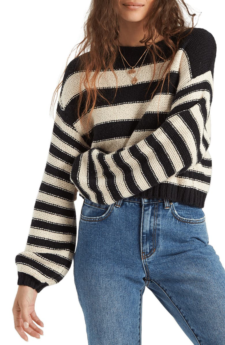 BILLABONG Seeing Stripes Boat Neck Cotton Sweater, Main, color, 001
