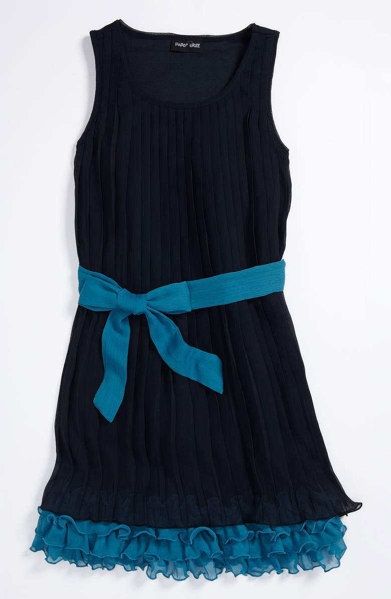 PAPER DOLL Pleated Chiffon Dress, Main, color, NAVY TEAL