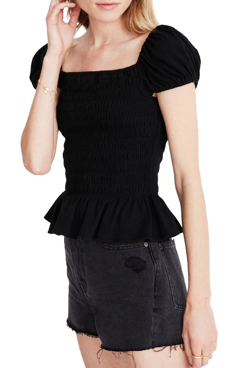 MADEWELL Smocked Square Neck Top, Main, color, 001