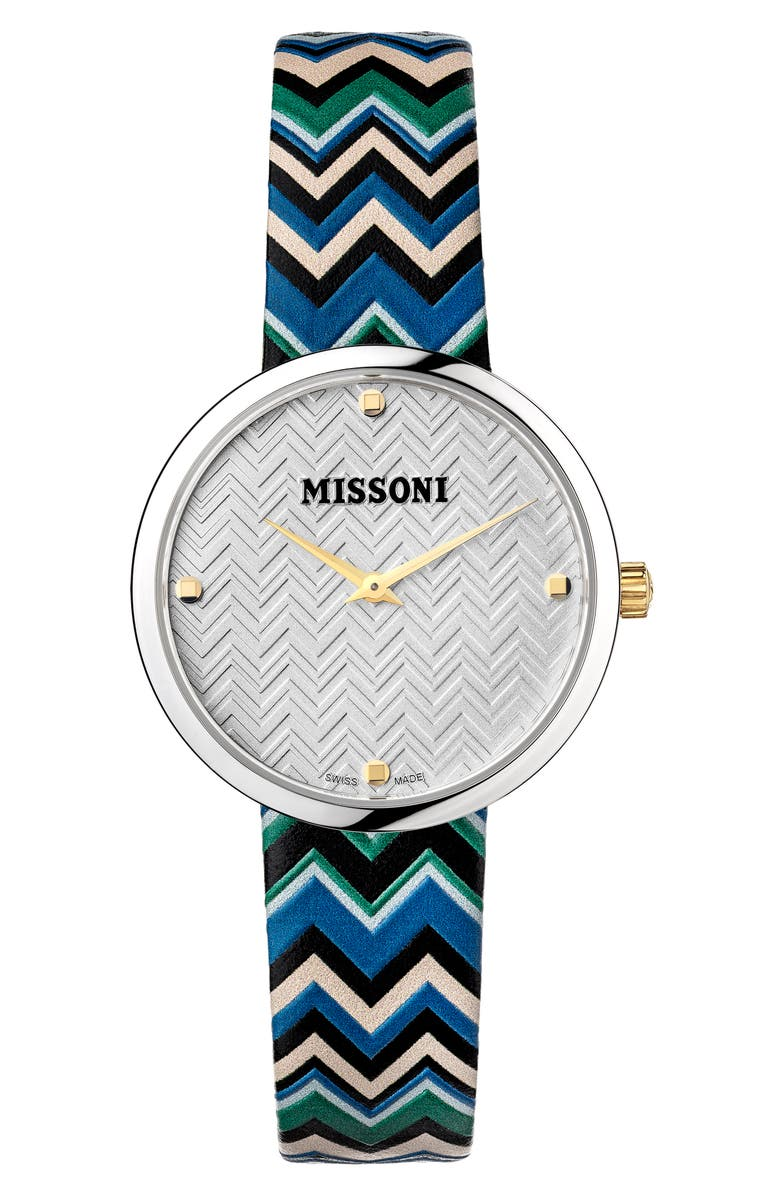 MISSONI M1 Joyful Chevron Leather Strap Watch, 34mm, Main, color, STAINLESS STEEL / SILVER