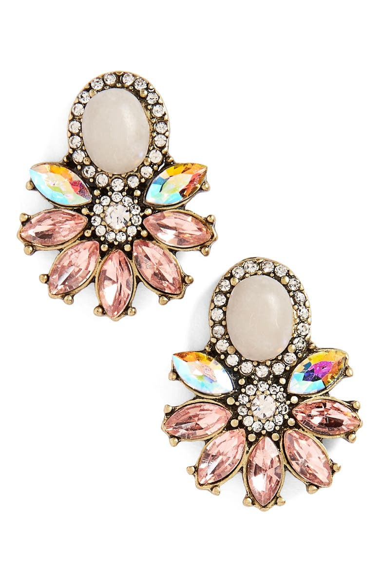 SOLE SOCIETY Crystal & Stone Earrings, Main, color, BLUSH MULTI