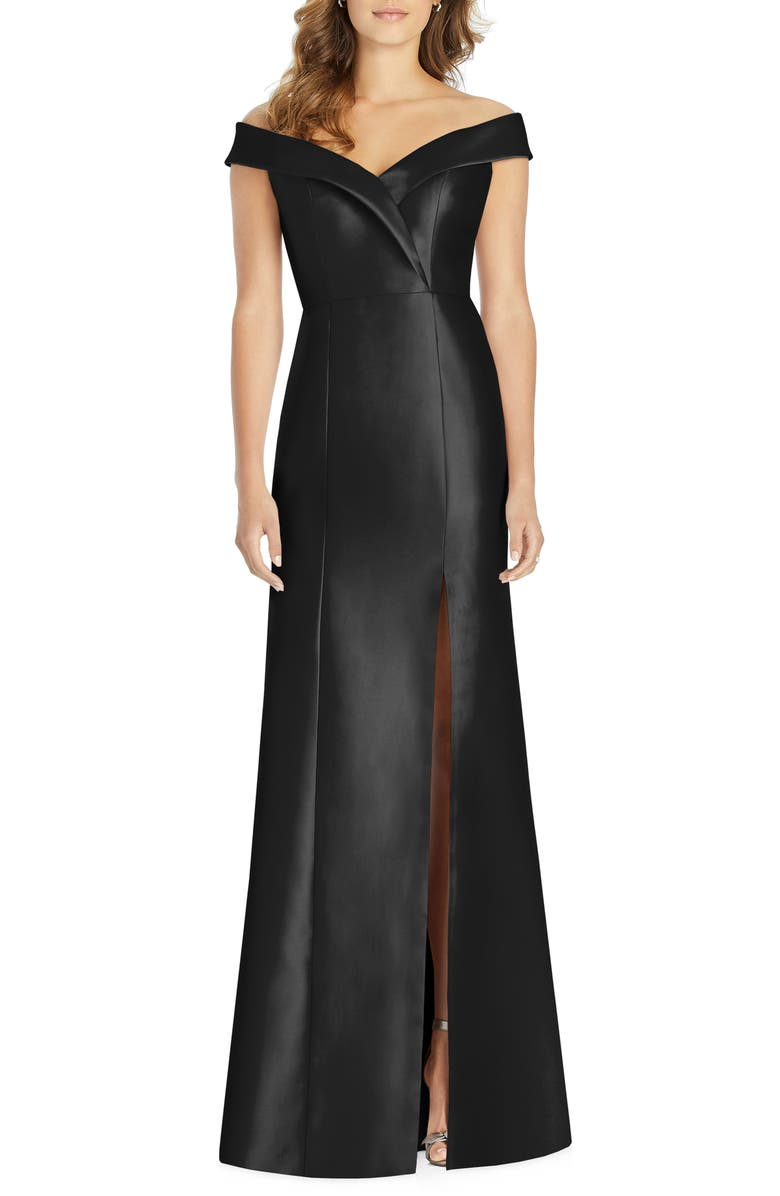 ALFRED SUNG Portrait Collar Satin Trumpet Gown, Main, color, BLACK