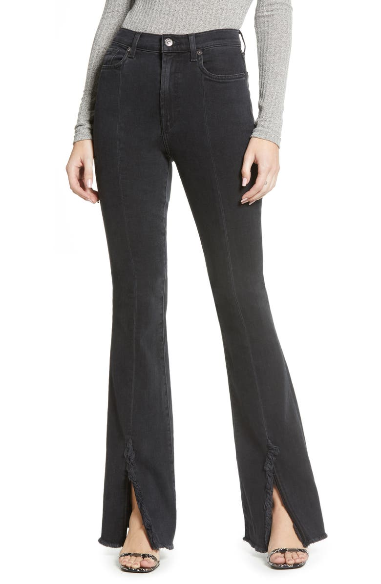 7 FOR ALL MANKIND<SUP>®</SUP> Exaggerated Kick Fray Hem Jeans, Main, color, 005