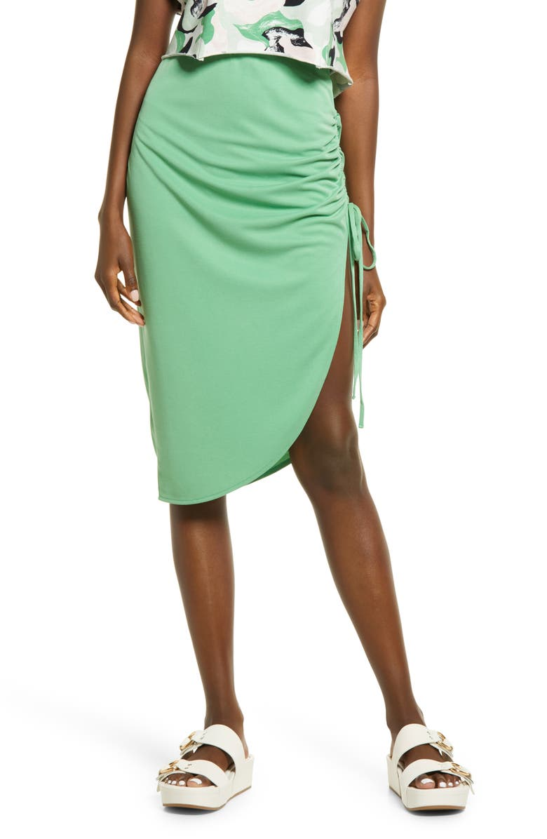 OPEN EDIT Side Ruched Skirt, Main, color, GREEN GRASS