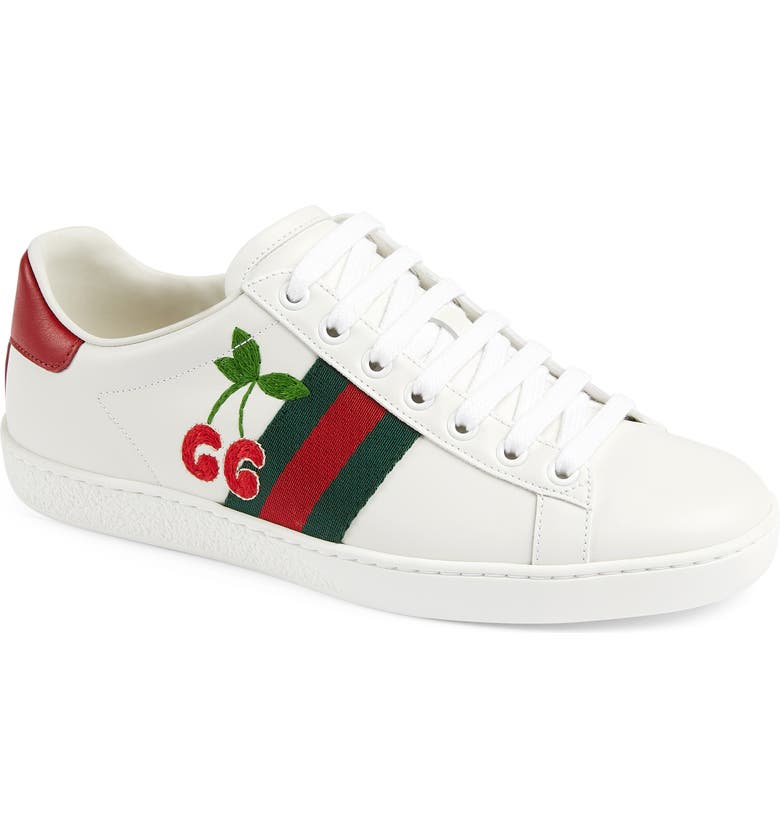 GUCCI New Ace GG Cherry Sneaker, Main, color, WHITE/ GREEN/ RED