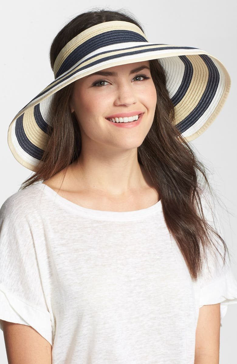 NORDSTROM Braided Packable Visor, Main, color, NAVY COMBO