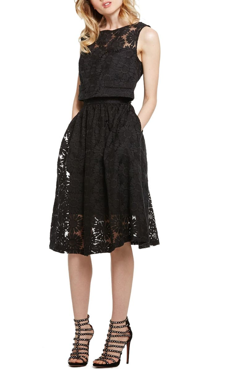 DONNA MORGAN Embroidered Organza Two-Piece Dress, Main, color, 001