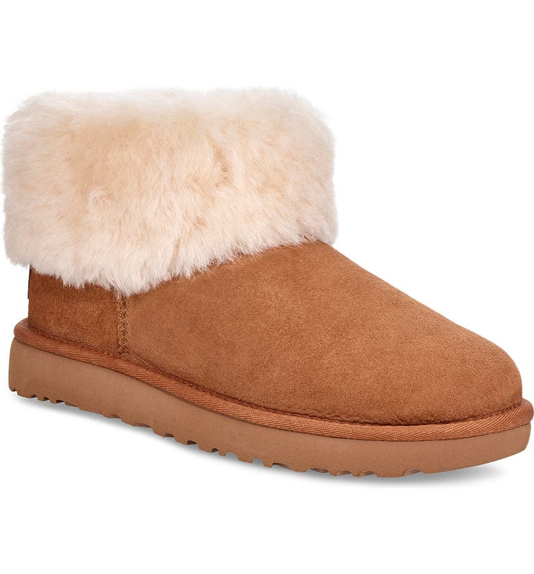 UGG<SUP>®</SUP> Classic Mini Fluff Genuine Shearling Bootie, Main, color, CHESTNUT