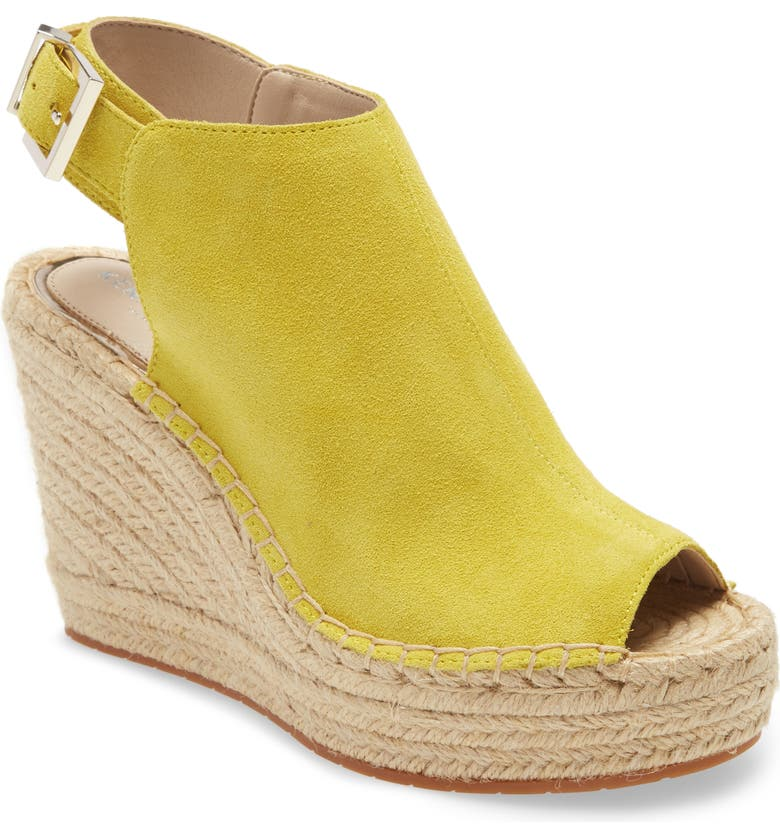 KENNETH COLE NEW YORK 'Olivia' Espadrille Wedge Sandal, Main, color, SOL YELLOW SUEDE