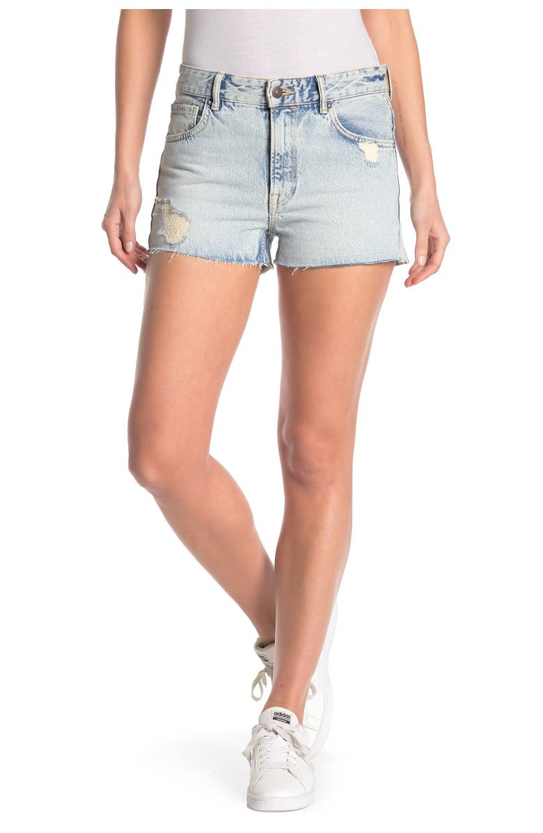 ALLSAINTS Cleo Ripped Denim Shorts, Main, color, ICE BLUE