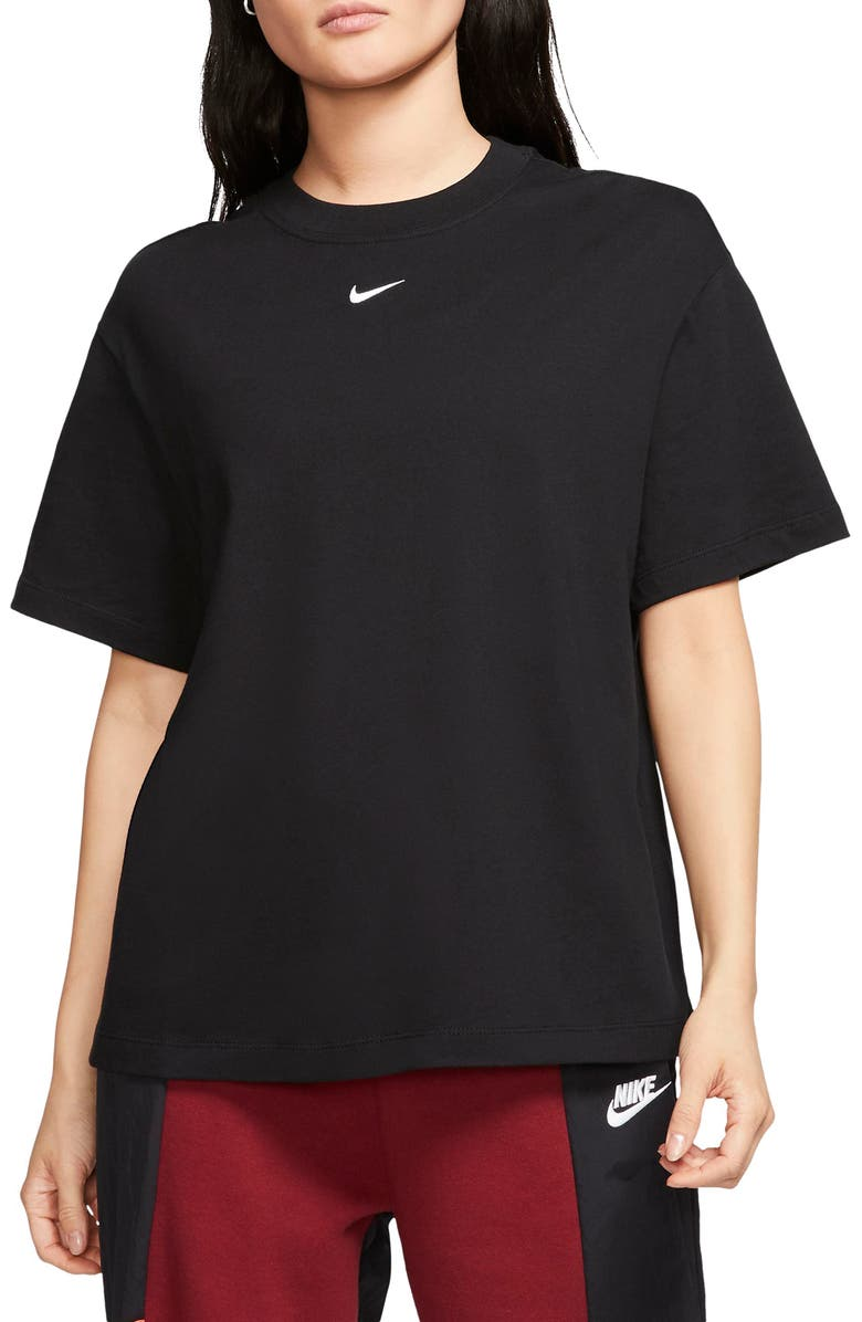 NIKE Essential Embroidered Swoosh Organic Cotton T-Shirt, Main, color, BLACK/ WHITE