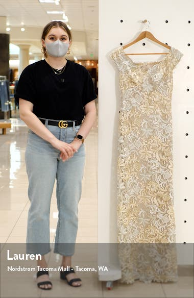 Cap Sleeve Embroidered Lace Gown, sales video thumbnail
