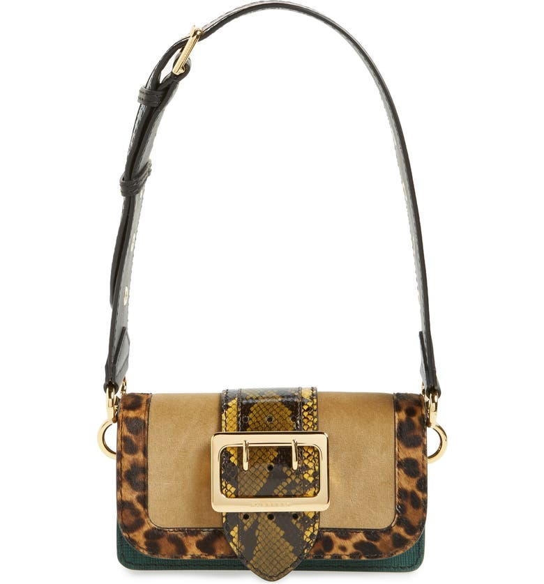 BURBERRY 'Belt Bag' Mixed Finish Convertible Clutch with Genuine Snakeskin Trim, Main, color, GREAT SEA GREEN/ MULTICOLOR