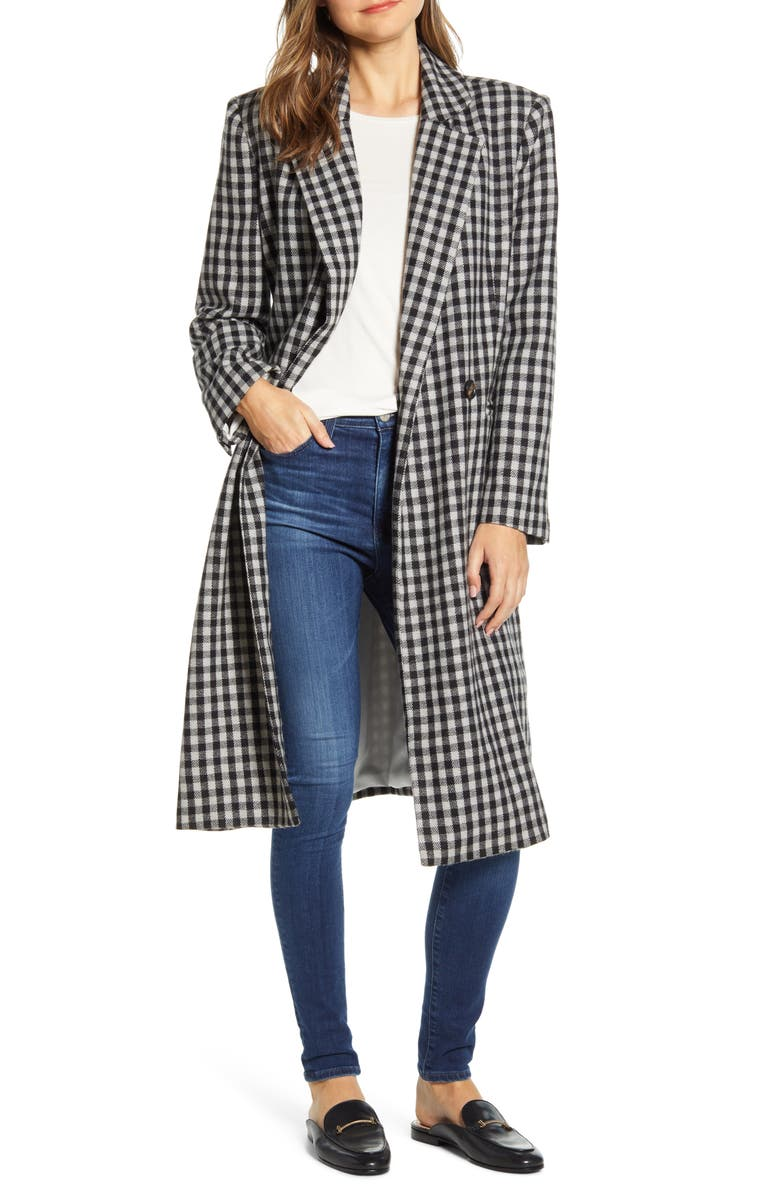 BEACHLUNCHLOUNGE Double Breasted Gingham Long Coat, Main, color, 031