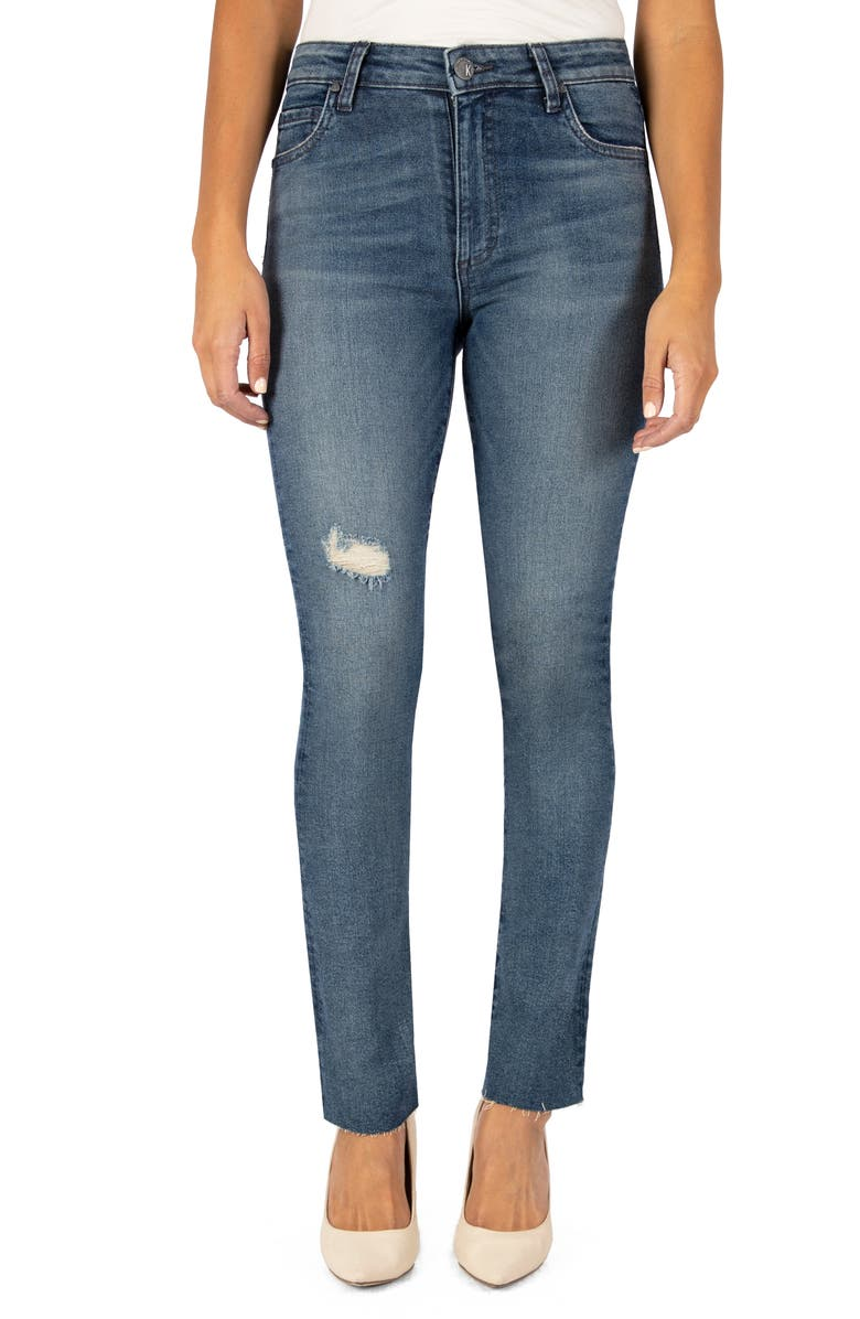 KUT FROM THE KLOTH Chrissie High Waist Raw Hem Slim Straight Leg Jeans, Main, color, OUTGOING