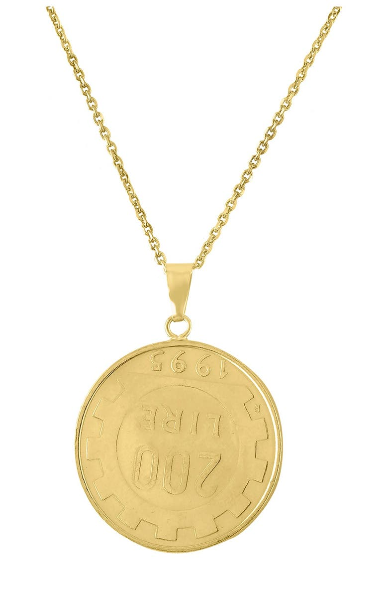 SPHERA MILANO 14K Yellow Gold Authentic Coin Pendant Necklace, Main, color, YELLOW GOLD