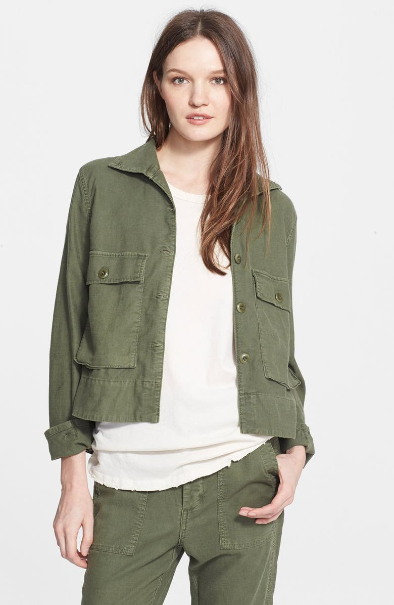 THE GREAT. 'The Swingy' Army Jacket, Main, color, BEAT UP ARMY