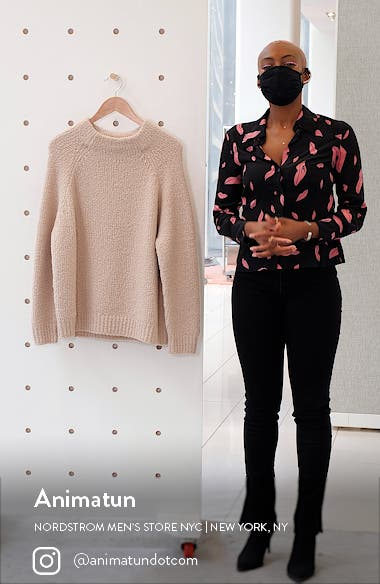 Funnel Neck Chunky Wool Blend Sweater, sales video thumbnail
