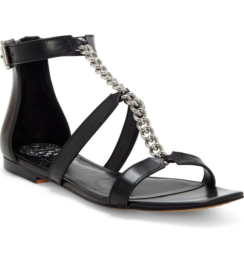 VINCE CAMUTO Sereney Chain Strap Sandal, Main, color, BLACK LEATHER