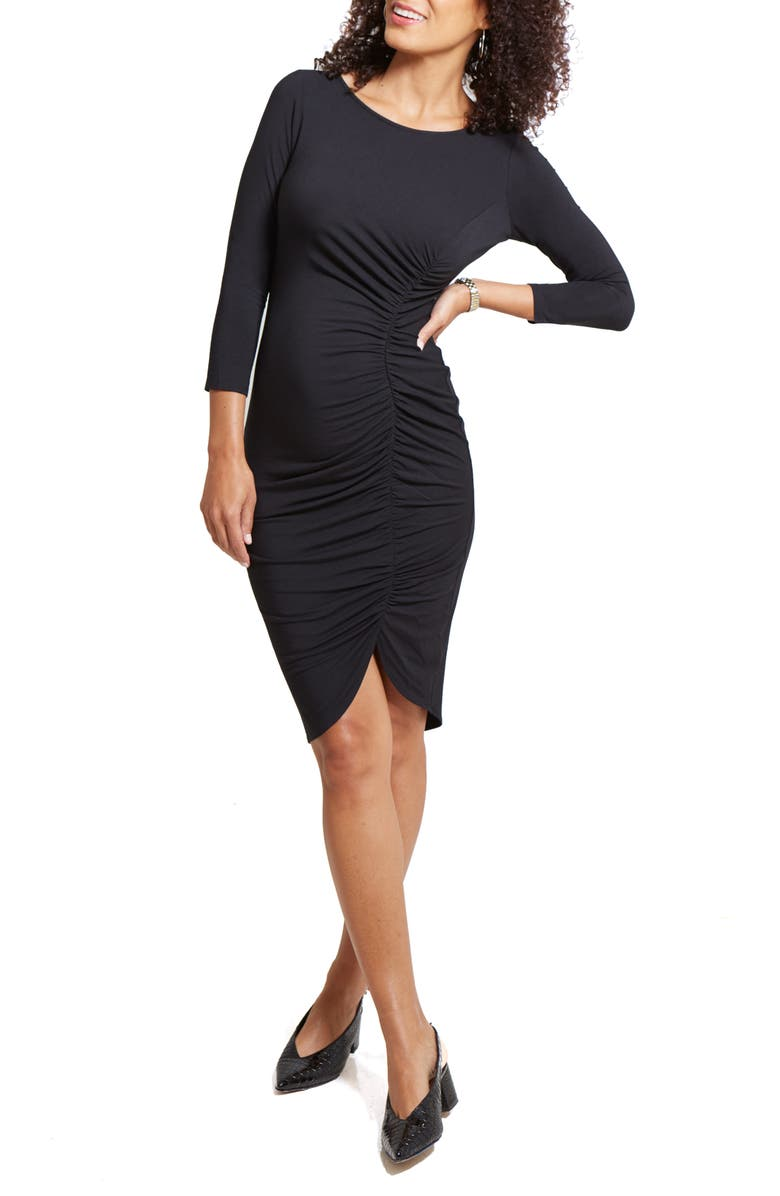 INGRID & ISABEL<SUP>®</SUP> Tulip Hem Maternity Dress, Main, color, 001