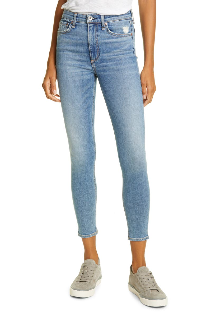 RAG & BONE Nina High Waist Ankle Skinny Jeans, Main, color, WEST MARIN