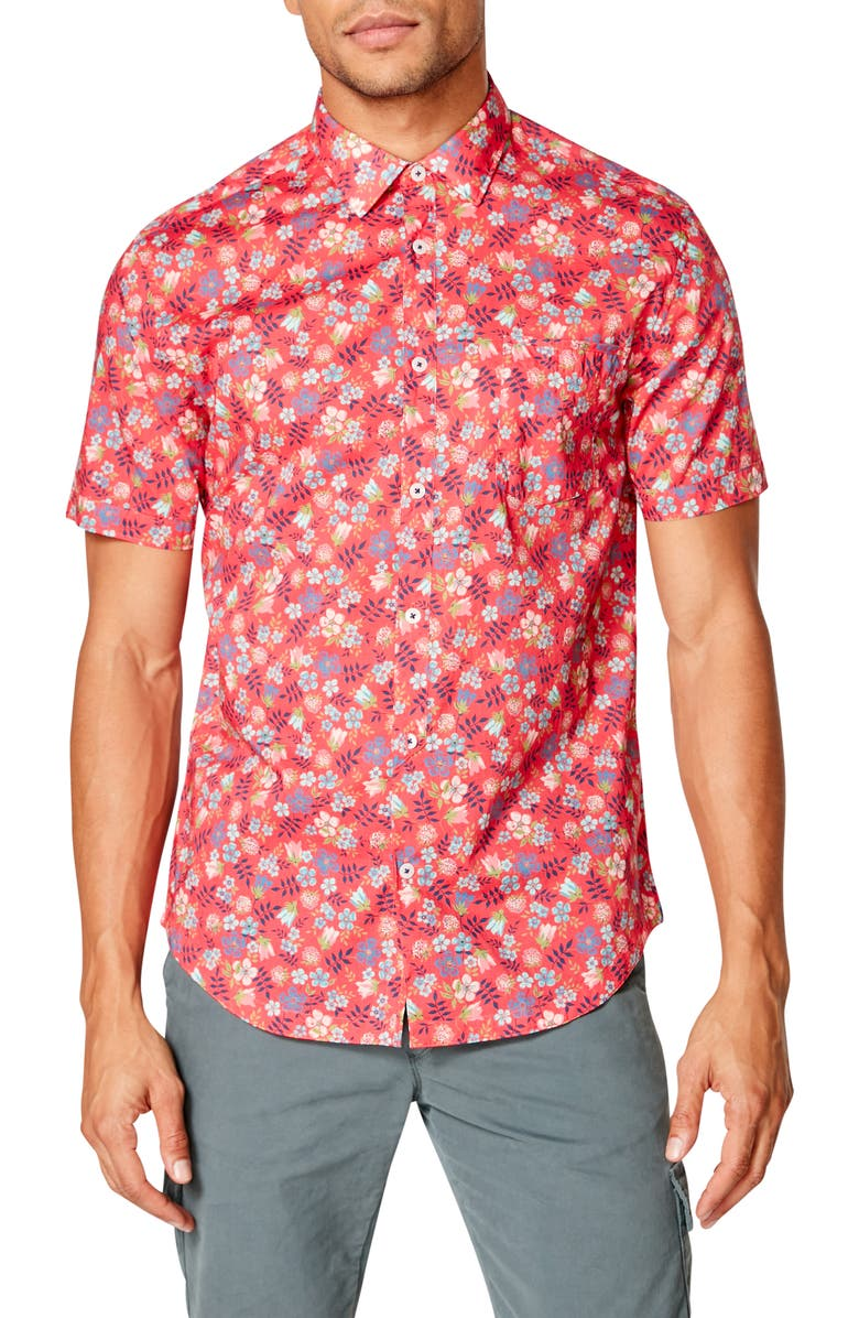 GOOD MAN BRAND On Point Slim Fit Short Sleeve Button-Up Shirt, Main, color, JAZZY ASHBURY LIBERTY FLORAL