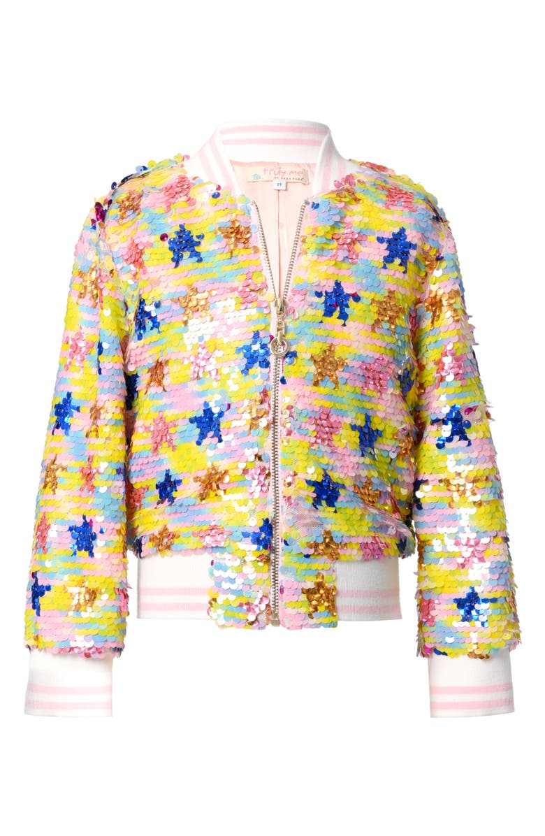 TRULY ME Sequin Flip Stars Bomber Jacket, Main, color, YELLOW MULTI