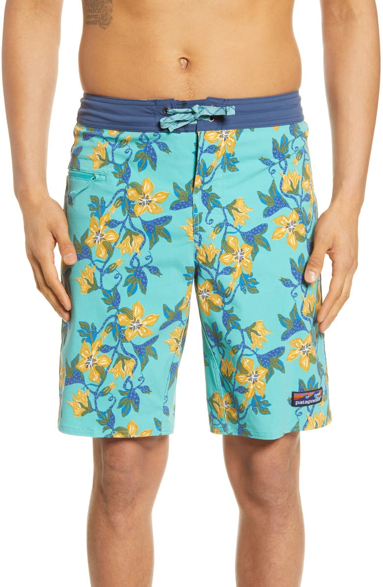 PATAGONIA Wavefarer Board Shorts, Main, color, SQUASH BLOSSOM/ BERYL GREEN