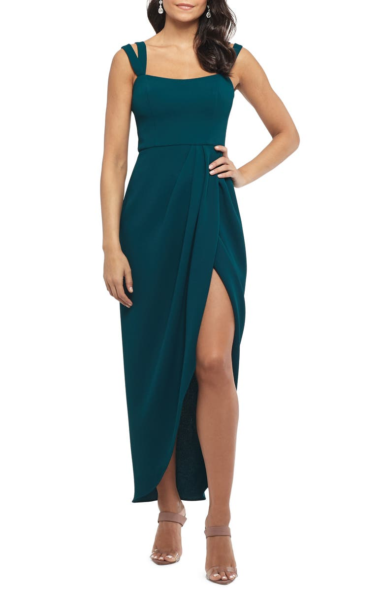 XSCAPE Side Ruched Double Strap Crepe Gown, Main, color, EMERALD