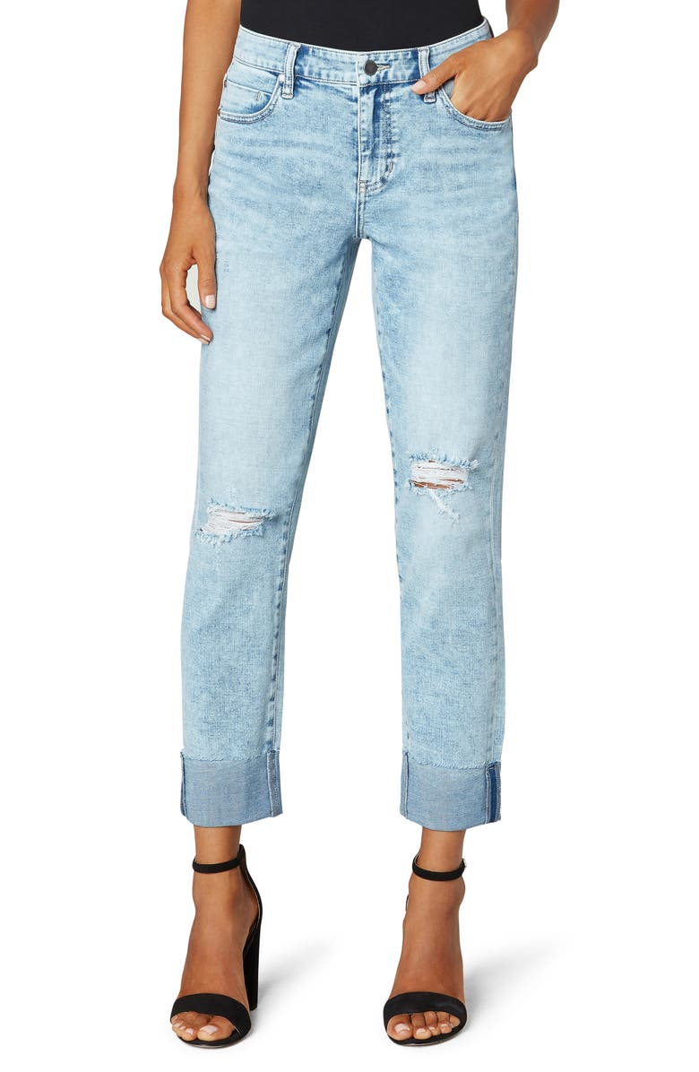 LIVERPOOL LOS ANGELES Marley Raw Cut Cuffed Ankle Straight Leg Jeans, Main, color, BIANCA